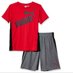 Puma boy red shorts set outfit